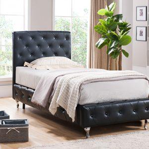Enkel säng 90×200 vit färg läder