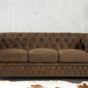 CHESTERFIELD – ANTIKBRUN TRESITSSOFFA 3+2+1