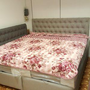 KOMPLETT Dubbel säng grå 180×200 med förvaring och madrass
