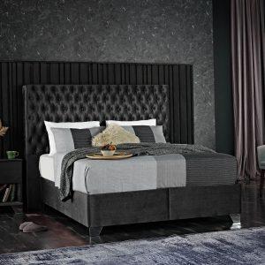KOMPLETT 1 Dubbel säng sammetmörkgrå 180×200 med madrass och bäddmadrass