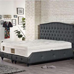 KOMPLETT Dubbel säng mörkgrå 180×200 med förvaring och madrass
