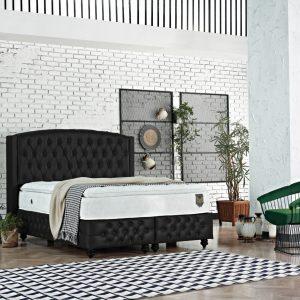 KOMPLETT 2 Dubbel säng sammetsvart 180×200 med förvaring, madrass och bäddmadrass