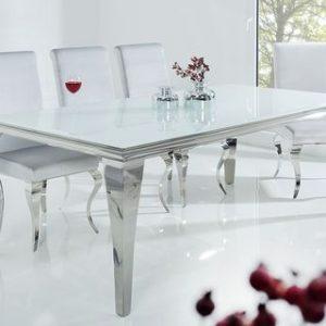 LUISA – 200CM MATBORD I SILVER/VIT GLAS med 6 grå stolar