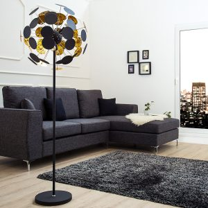 Golvlampa Infinity Home 170cm svartguld