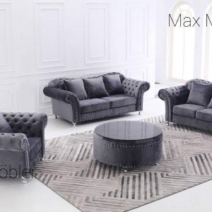 Kung soffa 3+2+1 grå sammet