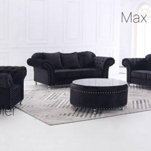 Kung soffa  3+2+1 svart sammet