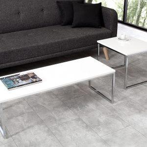 Element soffbord bord med 2 vit krom