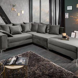Hörn soffa loft 220cm silvergrå sammetstol