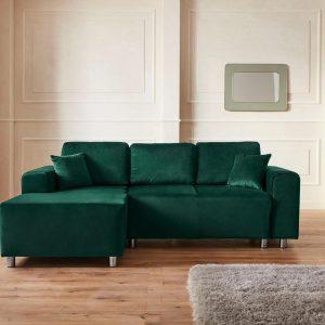 """Maria Kretschmer Home & Living hörnsoffa """"Györ"""", valfritt med sängfunktion och sänglåda inklusive 2 dekorativa kuddar, demokratisk utgåva"""