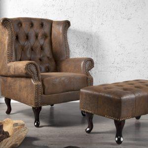 Vingstol Chesterfield brun antik look /