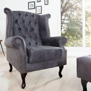 Vingstol Chesterfield grå antik look /