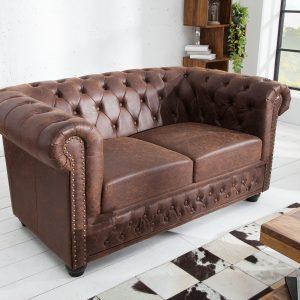 Chesterfield soffa vintage brun /