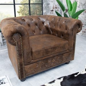 Chesterfield fåtölj brun antik look /