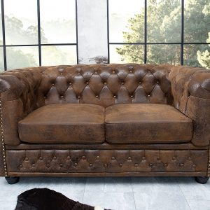 Chesterfield soffa 2-sits brun antik look /