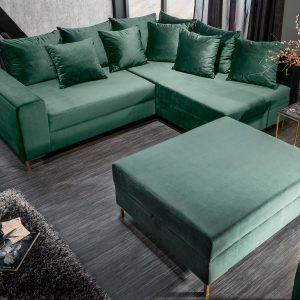 Hörnsoffa loft 220cm smaragdgrön sammetpall /
