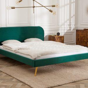 Berömd säng 160x200cm smaragdgrön sammet guld /