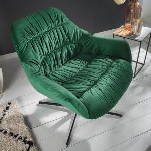 Stor holländsk fåtölj smaragdgrön sammet armstöd /