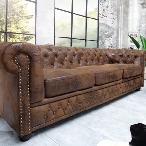 Chesterfield soffa 3-sits brun antik look /