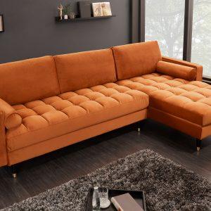 Hörnsoffa Cozy Velvet II 260cm rostbrun sammet /