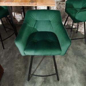 Barstol Loft 100cm grön sammet armstöd /