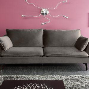 Famous II soffa 210cm silvergrå sammet /