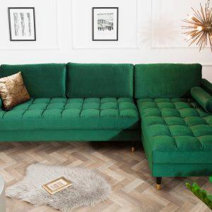 Hörnsoffa Cozy Velvet II 260cm smaragdgrön sammet /