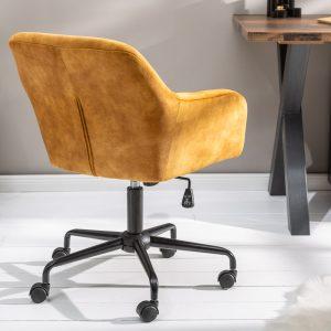 Dutch Comfort kontorsstol senapgul sammet /