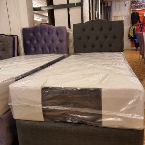 Enkel säng 100×200 sammet med förvaring